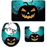 MagiDeal 3pcs Halloween Badematten Set Badezimmer Anti-Rutsch Sockel Teppich + Deckel WC-Abdeckung + Badematte Set - 03, 3pcs/set