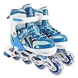 Giow Inline-Skates, Kinder-Flash-Skates Eisschnelllauf Für Damen Und Herren Verstellbares Design,Blue,26to32yards