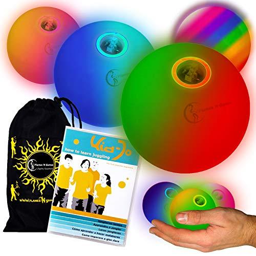 LED Jonglierbälle 3er Set (Langsam Rainbow-Effekt) + KID-Jo DVD Jonglieren lernen (in Deutsch) - Profi Glow Leuchtbälle mit LED-Licht und Batterien +Tasche. Set Ideal Für Anfänger Wie Auch Für Profis.