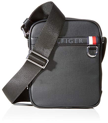Tommy hilfiger coated canvas mini reporter - portafogli uomo, nero (black), 1x1x1 cm (w x h l)