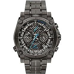 Bulova Precisionist 98G229 - Reloj de Pulsera de diseño para Hombre - Función de cronógrafo - Acero Inoxidable - Gris con manecillas Azules