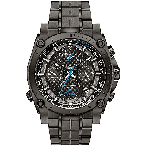 Bulova 98G229 Men's Designer Chronograph Watch Stainless Steel Bracelet Grey W/ Blue Hands Precisionist Wrist Watch