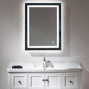 Badspiegel LED Beleuchtung Wandspiegel Badezimmerspiegel mit Touchschalter ( 60 x 80 cm, kaltweißen)