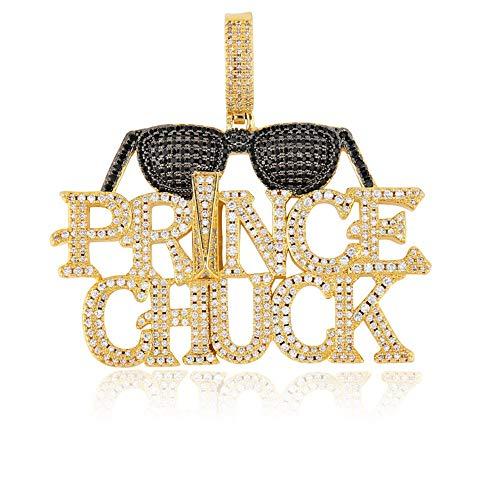 ANLW Sonnenbrille Buchstaben Prince Chuck Für Herren Halskette 18K Vergoldet Eingelegten Zirkon 24