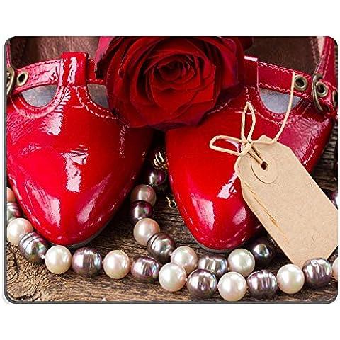 Luxlady Mousepad paio di scarpe rosso con rose e vuoto Tag immagine 35654008personalizzato Art desktop laptop gaming mouse pad