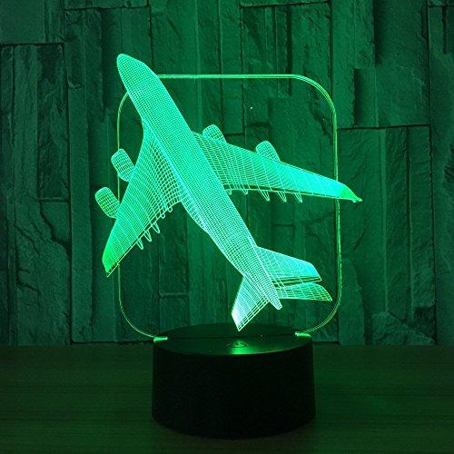 FISSEN 3D avion LED Lampe d'illusion Optique Lampe Lumière de Nuit avec Câble USB et 7 Couleurs Décoration pour Enfant Chambre Chevet Table de Bébé Enfant Cadeau De Noël Fête Anniversaire