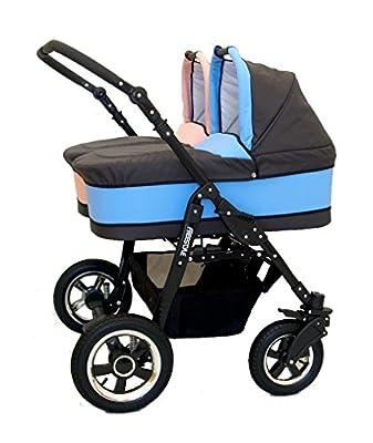 Carro gemelar completo. Capazos+sillas+accesorios. Rosa+Azul. Freestyle Twins