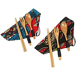 kilofly Japanische Gabel Löffel Essstäbchen aus Holz 3-Set Besteck-Set, mit 2Stück