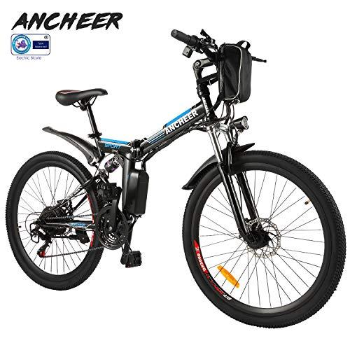 ANCHEER Elektrofahrrad 2019 Plus Faltbares Mountainbike, 36V 8Ah/12Ah Lithium-Batterie26 Reifen Elektrisches Fahrrad Ebike mit 250W bürstenlosem Motor und Shimano 21-Gang