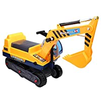 Smibie (UK STOCK) Kids Ride On Digger Toy Pretend Excavator Truck for Kids Toddler Baby with Shovel Arm Claw and Helmet