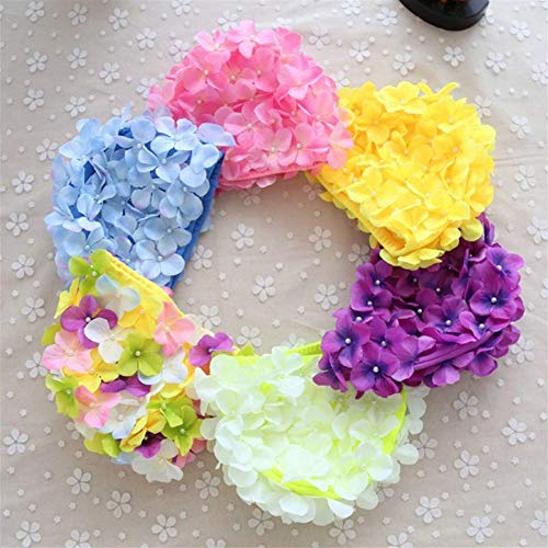CQSMOO Bade Kappen Badekappe, Blumen-Design-Kappe zarte Personalisierte Dreidimensionale Blütenblatt Badekappen für langes Haar by (Farbe : Blau)