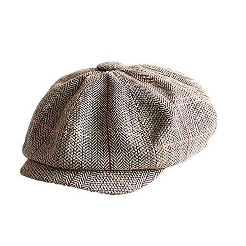 (PinzhiMens Driving Golf Gatsby Caps Zeitungsjunge Ivy Hat Sun Cabbie Wohnung Bonnet Sommer x1(Khaki ))