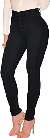 ECUPPER Women's Skinny Fit Jeans Stretch High Waisted Denim Jeggings with Pockets