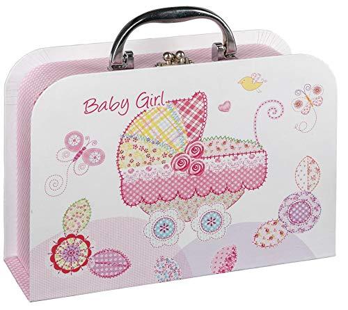 Idena 30212 Geschenkkoffer, Geschenkbox, Geburt Mädchen Baby Girl, rosa