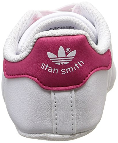 adidas Stan Smith Crib, Chaussures Bébé marche bébé fille Blanc (Ftwr White/Ftwr White/Bold Pink)