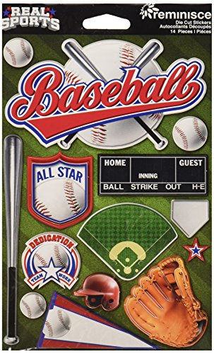 Reminisce Real Sports Dimensional Cardstock Stickers-Baseball