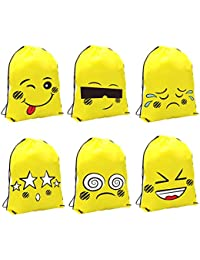 Mhjy Emoji Drawstring Bag For Kids Gym Bags For Teens Assorted Emoticon Party Gift (6-Pack)