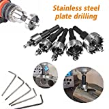 Mohoo 5 Pcs 16-30MM HSS Drill Bit Hole Saw Set Stainless High Speed Steel Metal Alloy