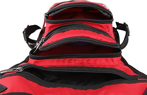 Genda 2Archer Bolso Nupcial Impermeable Unisex de la Pierna del Bumbag del Bolso de la Tapa de la Cadera (17cm * 8cm * 31cm) (Rojo)