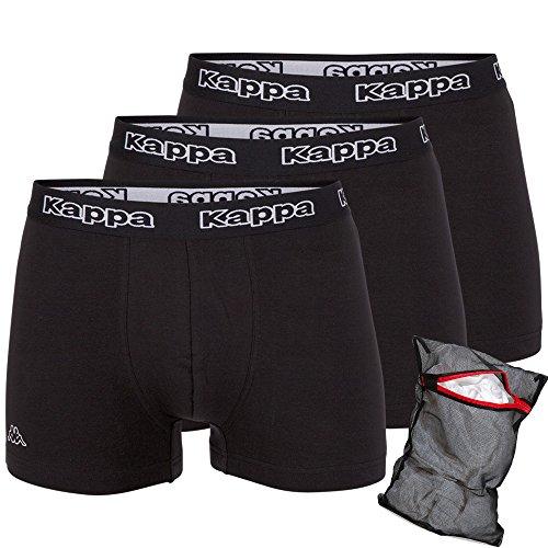 Kappa Herren Unterhose Ziatec Edition - Boxhershorts mit praktischem Wäschenetz 3er, 6er und 9er Packs - Männer-Unterwäsche 3 x schwarz / schwarz