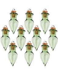 Tarros De Lagrima Corcho 10 Vidrio Frasco Que Desea Botellas C Lazo De Bricolaje Colgante Verde