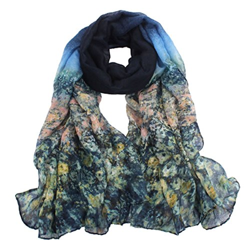 Schals Damen, ABsolute Damen Blumen Voile Stola Schal Langen Chiffon Wraps Schal (180cmX90cm, Blau)