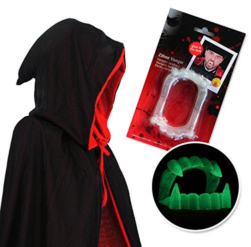 papapanda Vampir Umhang Kapuzenumhang Schwarz Rot und Zähnen für Erwachsene Halloween Dracula Cosplay 170cm Umhang