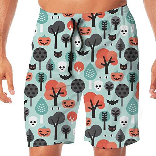 OOworld Men Beach Shorts Verrückte Halloween Kürbis Katze und Schädel Illustration Muster Schädel Badehose Quick Dry Pants mit Taschen, XXL