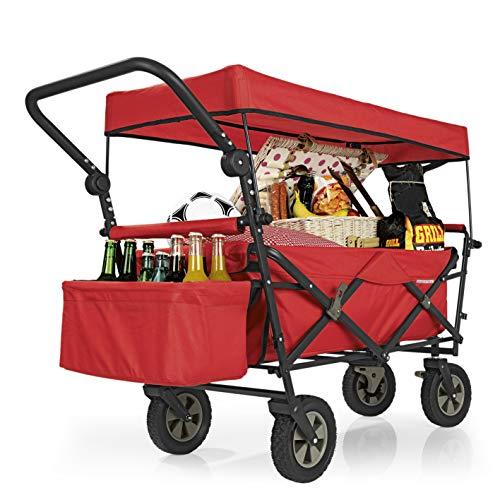 PRIMA GARDEN Faltbarer Bollerwagen grau | UV-Schutzdach,Schubbügel,Bremsen,Kühltasche,Crossprofilräder | 80kg Tragkraft | Handwagen,Transportwagen (Rot)