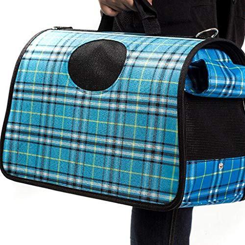 Pet Bag Dog Bag Katzentasche Pet Out Bag Breathable Kleine und Mittlere Hundereise Outdoor Out of The Box Leicht zu tragen Lostgaming (Farbe : Blau)