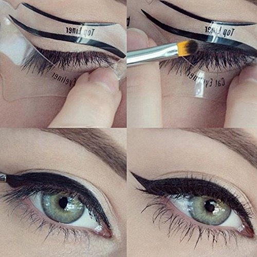 Travelmall 6PCs Stencils For Perfect Cat Eyeliner And Smoky Eyes Eyebrows Template Card Makeup Tool Stencil for The Perfect Winged Cat Eyeliner.