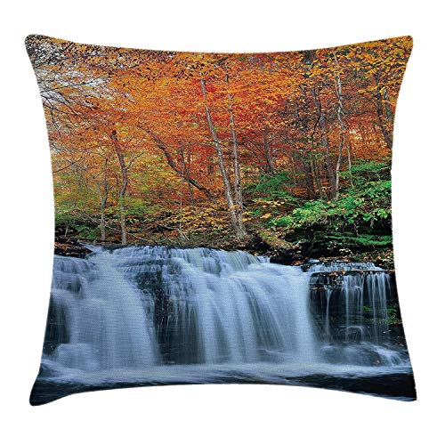 row Pillow Cushion Cover, Waterfalls in Autumn Season Nature Park with Colorful Foliage Trees, Decorative Square Accent Pillow Case, 18 X 18 inches, Orange Green Dark Brown ()
