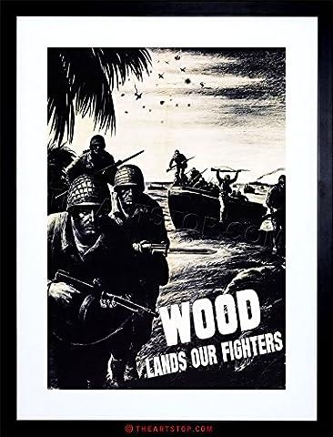 VINTAGE AD PROPAGANDA WAR WWII USA WOOD LUMBER SOLDIER FRAMED PRINT F97X6147