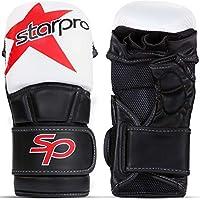Starpro MMA Guantes Sparring Artes Marciales - Entrenamiento Mitones Karate Kick Boxing Combate Muay Thai Lucha Libre Grappling Gloves | Cuero Sintético Blanco y Negro | para Hombre y Mujer