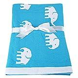 Manta de algodón para bebé de lana celular, doble jacquard suave para envolver la ropa de cama para bebé de 41 pulgadas x 30 pulgadas para cuna recién nacida (azul)