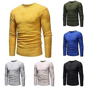 UJUNAOR Herren Lässig Bluse Herbst Winter Sweatshirt Pullover Strickwaren Outwear Bluse Jumper Bluse Solide Sport T-Shirt Mit Rundhalsausschnitt