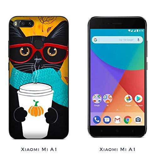 Hülle Mi A1 Case Xiaomi Mi A1 Haustiere Katze mit Brille/Cover Druck auch an den Seiten/Anti-Rutsch Anti-Rutsch Anti-Scratch Schock-resistenten Schutz Schutzulle Starre