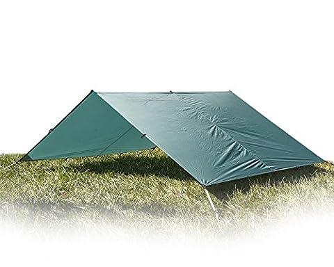 Aqua Quest GUIDE Bâche Grande 4 x 3 m Verte - Abri de Randonnée Ultra-léger et Imperméable en RipStop Sil Nylon pour Camping Tente - 17 Œillets pour des Options de Configuration