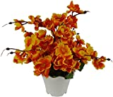 #8: Bageecha Garden's Artificial Flower with Wooden Vase(10 inchs/ 25 cms) For Indoor And Outdoor Decoration Of Your Office and Home (Dark Yellow)