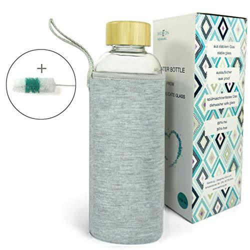 Wenburg Trinkflasche/Glasflasche mit Bambus-Deckel Wolton 0,75l Neopren Hülle. Sportflasche/Wasserflasche aus Glas. Für Unterwegs (grau, 0,75l)