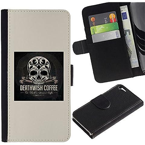 KLONGSHOP / Cassa del raccoglitore del cuoio di vibrazione con slot per schede - Skull Coffee Death Wish Poster Black - Apple iPhone 5 / 5S