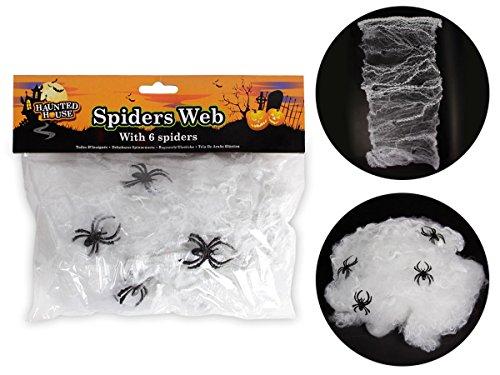 Spinnennetz mit 6 Spinnen Spinnweben 976043 Halloween Horror Deko Spinnengewebe von Alsino