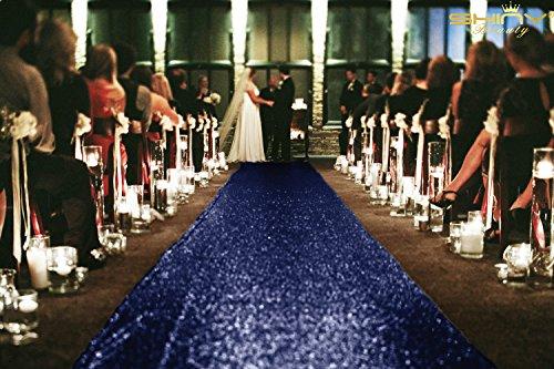 ShiDianYi Pailletten, Tischläufer, Läufer, dreieckig, für den Außenbereich, wedding-36inchx30ft, Polyester-Mischgewebe, marineblau, 36Inchx30FT