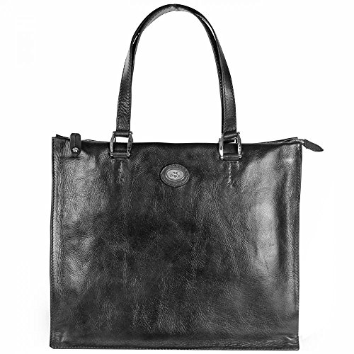 The Bridge Saddlery Donna borsa a spalla borsa tote pelle 34 cm Nero