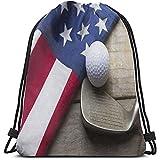 BOUIA Backpack Amerika flagge und golfball kordelzug taschen mehrzweck string rucksack langlebig...