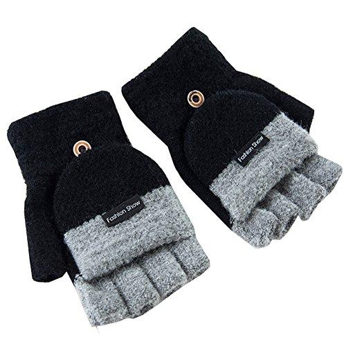 Artone Warm Stricken Halbfinger Thermo Isolierung Radfahren Winter Handschuhe mit Fäustlinge Klappe Schwarz (Fingerlose Stricken Handschuhe)