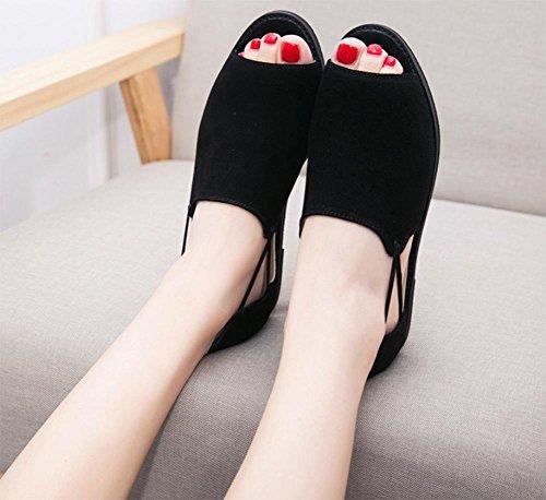 Low-Sandaletten weiblichen Studenten flache Schuhe mit flachen Sandalen und Pantoffeln weiblichen Sommer Sandalen und Pantoffeln Schwarz