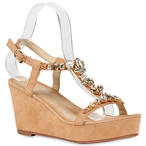 Elegante Damen Sandaletten | High Heels Sation-Optik | Glitzer Metallic Brautschuhe | Party Schuhe Animal Print | Plateauschuhe Schleifen Muster | Abschlussball Beige Steine Carlton