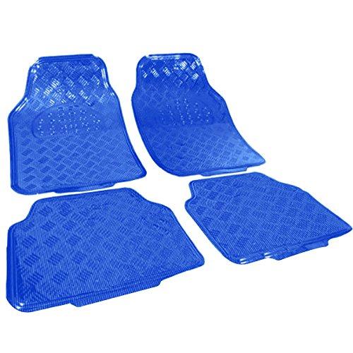 WOLTU Universal Auto Fußmatten Matten, ALU LOOK Riffelblech, Blau 4er-Set Matten, AM7109