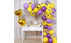 PartyWoo Schmetterling Party Luftballons, 82 Stück Luftballons Lavendel, Lila Luftballons, Gelb Ballons, Konfetti Ballons Lila, Herz Folienballon und Papier Schmetterling für Taufe Schmetterling